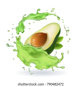 Fresh avocado fruit juice splash realistic isolated vector