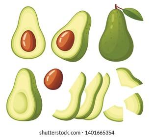 Fresh avocado and slice of avocados. Whole and half cut juicy avocado. Flat vector illustration on white background. Fresh green tropical fruit , Vegetarian, vegan Healthy organic food.