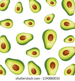 fresh avocados halfs pattern