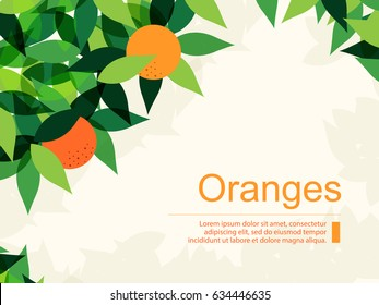 Fresh Background with Oranges and Green Leaves. Flat Design Style.
