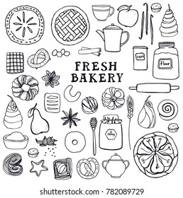 Fresh Bakery Set of isolated vector objects Tea party