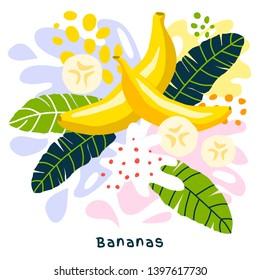 Fresh banana tropical fruits juice splash organic food ripe juicy bananas splatter on abstract background vector hand drawn illustrations