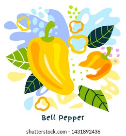 Fresh bell pepper vegetable juice splash organic food juicy vegetables splatter on abstract background vector hand drawn illustrations