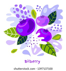Fresh bilberry berry berries fruits juice splash organic food juicy bilberries splatter on abstract background vector hand drawn illustrations