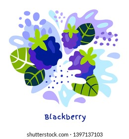 Fresh blackberry berry berries fruits juice splash organic food juicy blackberries splatter on abstract background vector hand drawn illustrations