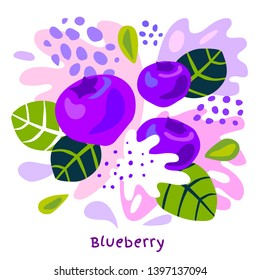 Fresh blueberry berry berries fruits juice splash organic food juicy blueberries splatter on abstract background vector hand drawn illustrations