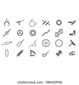 Fresh bmx parts icons. Bicycle icon. Bicycle parts icon.Bicycle component.