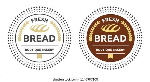 Fresh bread boutique bakery. Bakery and bread shop logos, labels, badges with design element bread. Bakery emblems. Vector vintage illustration.