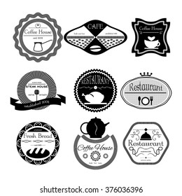 Fresh bread, coffee shop, restaurant Set retro vintage badges, ribbons and labels hipster. Vector, illustration. Black and white