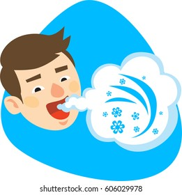 Fresh breath from male mouth. Air cloud with small flowers. Isolated. On blue background.