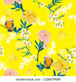 Fresh and bright  blooming flowers, branches, leaves and birds. Vector seamless pattern. Illustration for fabrics,and all prints on yellow background on japanese style.