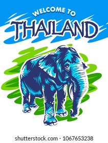 Fresh and bright design with elephant and text Welcome to Thailand. Blue elephant on abstract green background. Vector design.