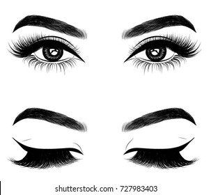 Fresh brown woman's eyes.Idea for business cards.Print for t -shirt. Typography vector