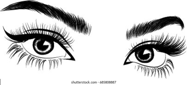 Fresh brown woman's eyes.Idea for cards.Print for t -shirt. Typography vector