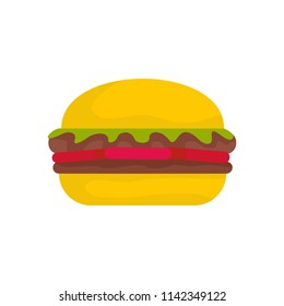 Fresh burger icon. Flat illustration of fresh burger vector icon for web isolated on white