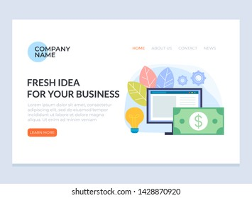 Fresh business idea banner poster website concept. Vector flat cartoon graphic design isolated illustration