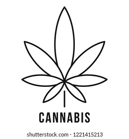Fresh cannabis leaf logo. Outline fresh cannabis leaf vector logo for web design isolated on white background
