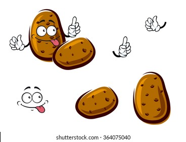 Fresh cartoon farm potato vegetables with rough brown peel. Addition to recipe book, vegetarian menu or agriculture harvest design