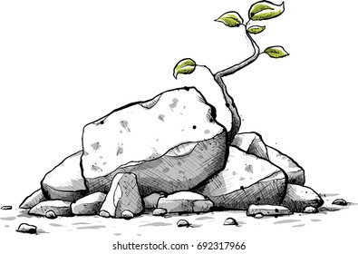 A fresh, cartoon sapling with green leaves grows from a pile of small jagged rocks.