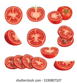 Fresh cartoon tomatoes. Red vegetables in flat design. Cut an sliced, single and group farm fresh tomatoes. Vector illustrations isolated on white background.