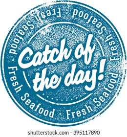 Fresh Catch of the Day Seafood Stamp