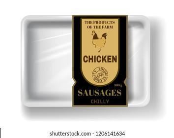 Fresh chicken meat. White polystyrene packaging, vector mockup