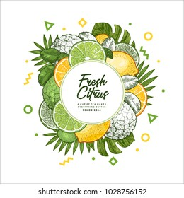 Fresh citrus design template. Engraved style illustration. Organic fruits packaging design. Vector illustration