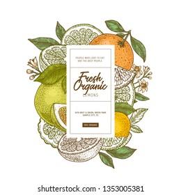 Fresh citrus design template. Engraved style illustration. Orange, flowers, lemon, tangerine. Vector illustration