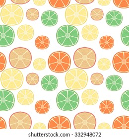 Fresh citrus fruits. Hand drawn seamless pattern with pretty doodle lime, lemon, orange and grapefruit