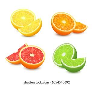 Fresh citrus fruits set. Orange grapefruit lemon lime isolated vector illustration. 3d realistic vector.