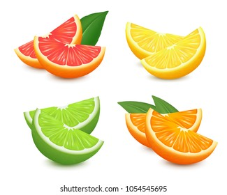 Fresh citrus fruits set. Orange grapefruit lemon lime isolated vector illustration. 3d realistic vector.