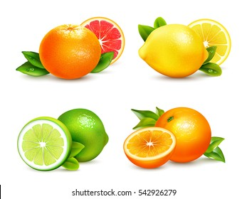 Fresh citrus fruits whole and halves 4 realistic icons square with orange grapefruit lemon isolated vector illustration