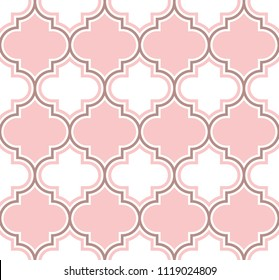 Fresh classic moroccan trellis pattern in peach pink and white. Vector seamless background. Perfect for wedding.