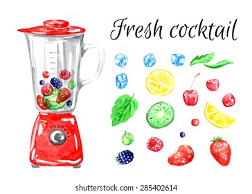 Fresh cocktail. Fruits. Vector watercolor. Isolated. Food background. Tea time. Fruits and berries. Ice. Cherry, lemon, kiwi, strawberry, gooseberry, mint, raspberry, bramble. Red blender.