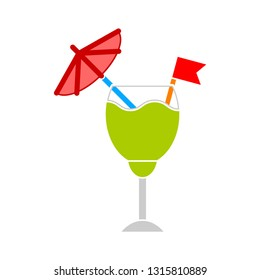fresh cocktail juice glass, cocktail juice illustration isolated - fresh drink sign symbol