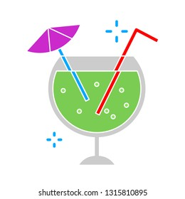 fresh cocktail juice glass, cocktail juice illustration isolated - fresh drink sign symbol