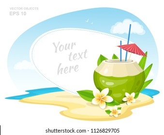 Fresh Coconut Cocktail with Plumeria Flowers, straws and Umbrella on the Island Beach. Summer Time Vacation Attribute. Vector Banner Design Concept with Place for Text