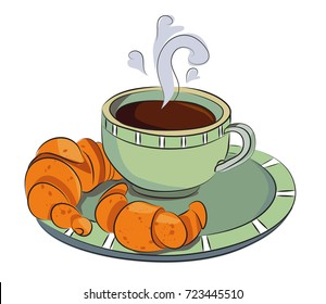 Fresh coffee and croissants, cartoon image. Artistic freehand drawing.
