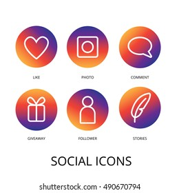 Fresh color gradient social icon template set in instagram style. Vector illustration for social media app design project and ui design.
