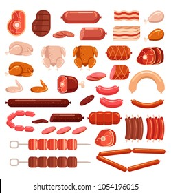 Fresh and cooked chicken pork and cow beef meat cut sliced sausage supermarket assortment product elements collection isolated icon. Gastronomy grocery bacon steak leg concept. Vector flat cartoon