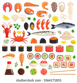 Fresh cooked sea fish lobster crab squid mollusks mussels slices tuna salmon sushi oyster food ocean marine flat isolated icon set collection. Market meal ingredient culinary concept. Vector flat