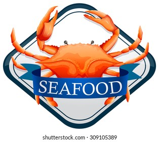 Fresh crab with blue seafood sign illustration