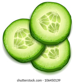 Fresh cucumber slice isolated on white background-vector