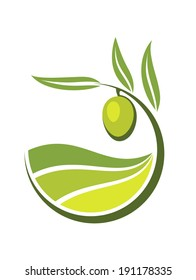 Fresh curling green cartoon olive logo with grades and quality of olive oil depicted by levels in shades of green in an organic bio concept