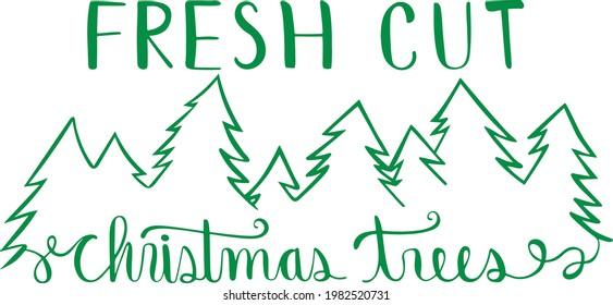 Fresh Cut Christmas Trees Vector