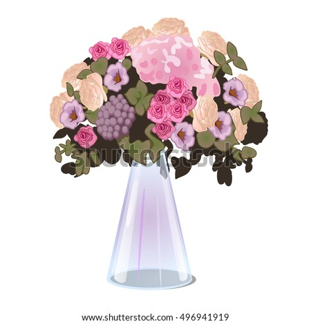 Fresh Cut Flowers Glass Conical Vase Stock Vector Royalty Free