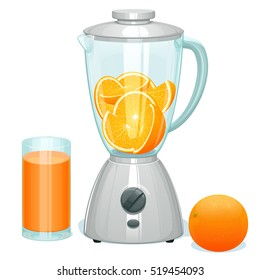 fresh cut ripe oranges in a glass bowl of the blender, the whole orange lies nearby