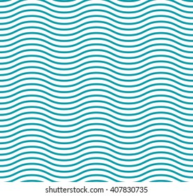 Fresh cute sea wave curve. Blue line  seamless pattern and a curved line for packaging paper. Vector colored illustration.