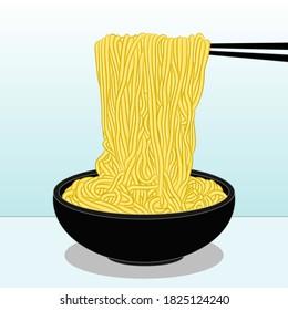 Fresh delicious bowl of asian ramen noodles on chopsticks against white background. Vector illustration