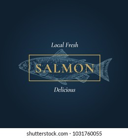 Fresh Delicious Salmon. Abstract Vector Sign, Symbol or Logo Template. Hand Drawn Fish with Classy Retro Typography. Vintage Vector Emblem with Dark Blue Background.